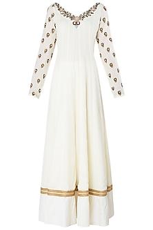 Off White Embroidered Anarkali Set