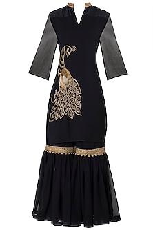Black Embroidered Kurta with Gharara Pants Set