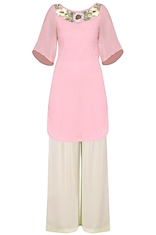 Baby Pink Floral Embroidered Short Kurta with White Palazzo Pants Set