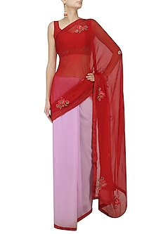 Scarlet and Lilac Ombre Floral Motif Saree with Embroidered Blouse by Trisha Dutta
