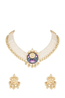 Gold Plated Meenakari Pearl Necklace Set by Tipsyfly