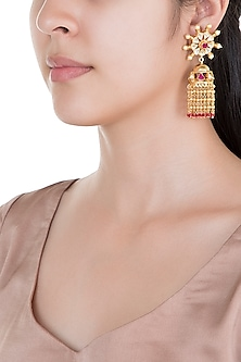 Gold Plated Pearl & Stone Work Earrings by Tipsyfly
