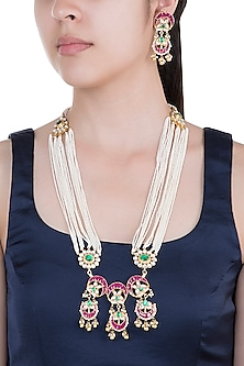 Gold Plated Pearl & Stone Work Necklace Set by Tipsyfly