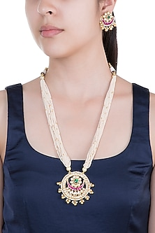 Gold Plated Pearl & Stone Work Long Necklace Set