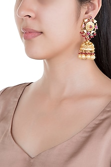 Gold Plated Pearl & Stone Work Jhumka Earrings by Tipsyfly