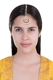 Gold Plated Pearl & Stone Work Maang Tikka by Tipsyfly