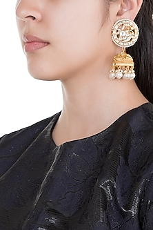 Gold Plated Pearl & Stone Work Long Earrings by Tipsyfly