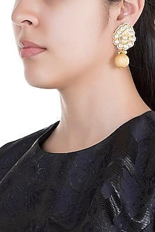 Gold Plated Pearl & Stone Work Floral Earrings by Tipsyfly