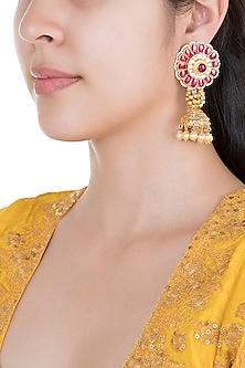 Gold Plated Pearl & Stone Work Indian Motifs Jhumka Earrings by Tipsyfly