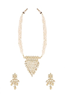 Gold Plated Pearl & Stone Work Long Pendant Necklace Set by Tipsyfly