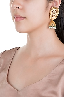 Gold Plated Pearl & Green Stone Work Earrings by Tipsyfly