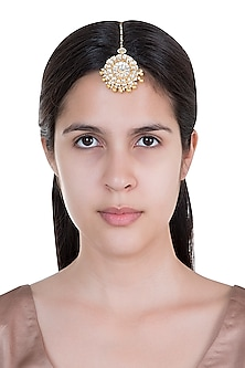 Gold Plated Pearl & Stone Work Floral Maang Tikka by Tipsyfly