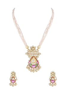 Gold Finish Handcrafted Pachi Kundan Meenakari Pink Necklace Set by Tipsyfly