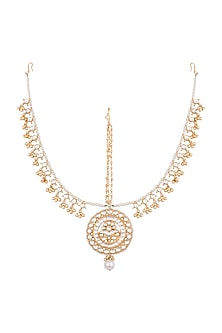 95e52792f Gold Finish Handcrafted Pachi Kundan & Pearl Mathapatti Design by ...
