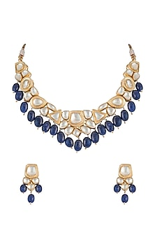 Gold Finish Handcrafted Pachi Kundan & Sapphire Necklace Set by Tipsyfly