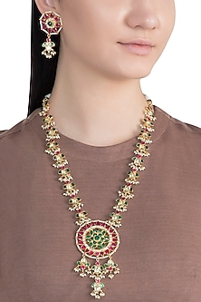 Gold Finish Handcrafted Pachi Kundan, Ruby & Emerald Necklace Set by Tipsyfly