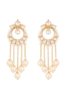 Gold Finish Handcrafted Pachi Kundan & Pearl Long Earrings by Tipsyfly