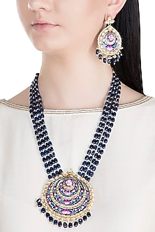 Gold Finish Handcrafted Meenakari Pachi Kundan & Sapphire Necklace Set by Tipsyfly