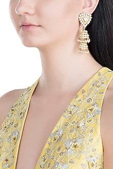 Gold Finish Handcrafted Pachi Kundan & Pearl Jhumka Earrings by Tipsyfly