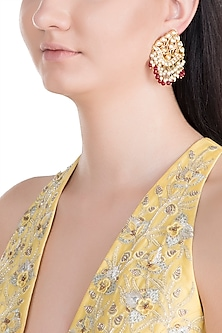 Gold Finish Handcrafted Pachi Kundan & Ruby Earrings by Tipsyfly