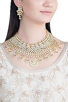 Gold Finish Handcrafted Pachi Kundan Stones & Pearl Necklace Set by Tipsyfly