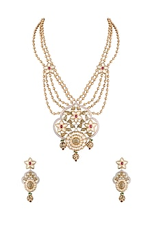 Gold Finish Meenakari Handcrafted Pachi Kundan, Ruby & Emerald Necklace Set by Tipsyfly