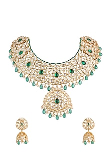 Gold Finish Handcrafted Pachi Kundan & Emerald Stone Necklace Set by Tipsyfly