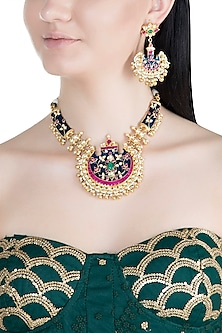 Gold Plated Handcrafted Pachi Kundan, Stones & Pearl Blue Necklace Set by Tipsyfly