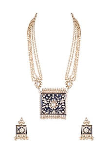 Gold Plated Handcrafted Pachi Kundan Blue Meenakari Necklace Set by Tipsyfly