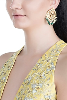 Gold Finish Handcrafted Pachi Kundan & Emerald Earrings by Tipsyfly