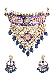 Gold Plated Handcrafted Pachi Kundan & Sapphire Meenakari Necklace Set by Tipsyfly