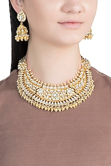 Gold Finish Handcrafted Pachi Kundan Pearl Necklace Set by Tipsyfly