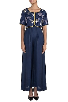 Navy blue embroidered short jacket by The Grey Heron