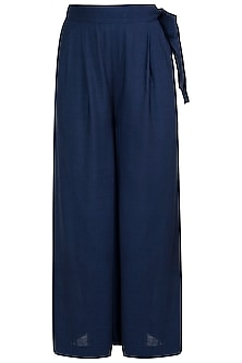 Navy blue flared pants with belt
