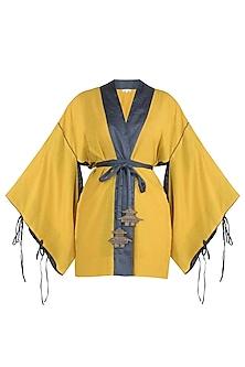 Turmeric yellow kimono top with belt by The Grey Heron
