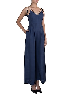 Navy blue flared jumpsuit by The Grey Heron