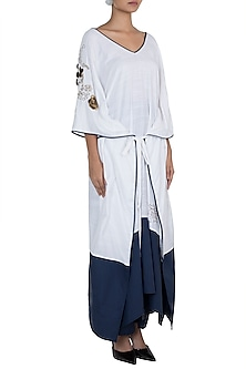 White Embroidered Long Kaftan by The Grey Heron
