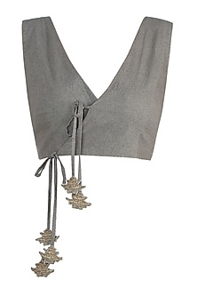 Khaki Green Tie Up Crop Top by The Grey Heron