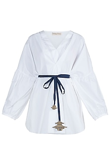 White embroidered top with belt by The Grey Heron