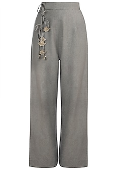 Khaki Green Straight Fit Pants by The Grey Heron