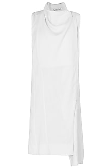 Off White 3 Way Zip Knee Length Dress