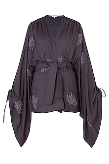 Dark Violet Kimono Style Top by The Grey Heron