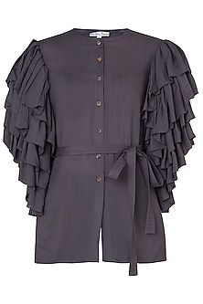Dark Violet Button Up Frill Shirt by The Grey Heron