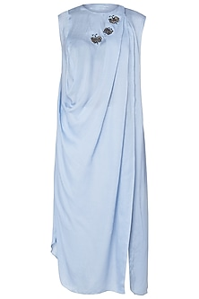 Powder Blue Draped Shirt Dress