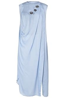 Powder Blue Draped Shirt Dress