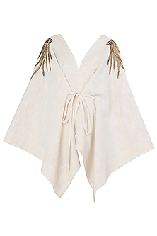 Dark Cream Embroidered Kaftan