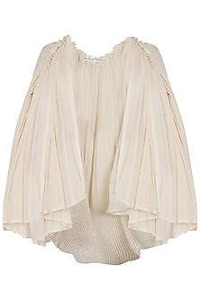 Dark Cream Gathered Net Shrug