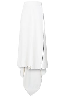 Off White Wrap Around High Low Skirt