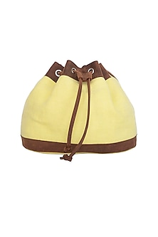 Yellow Sling Bucket Bag by The House of Ganges