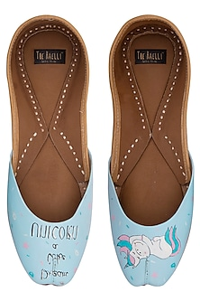 Powder blue hand painted juttis by THE HAELLI